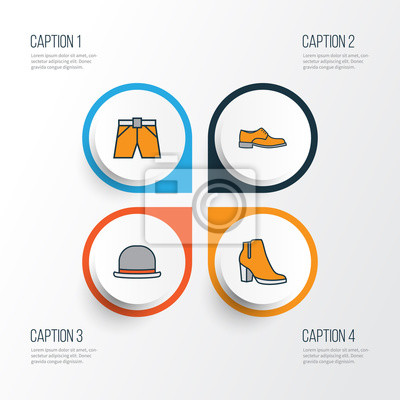 Fotomural Ropa Los Iconos Coloridos Del Esquema Fije. Colección De Calzado  Hombre 4c1ac266caa52