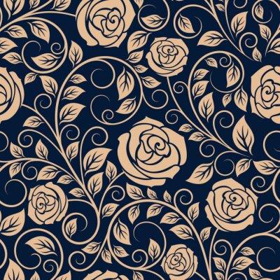 Fotomural Rosas Flores de la vendimia sin patrón