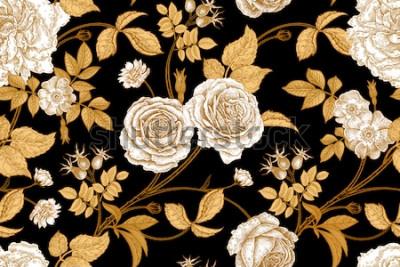 Fotomural Rosas, flores, hojas, ramas y bayas de rosa de perro. Patrón sin costuras vintage floral. Oro, falta y blanco. Estilo oriental Arte de ilustración vectorial Para el diseño de textiles, papel, papel ta