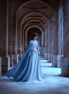 Fotomural Sad Snow Queen walks in old castle. blue silk long raincoat train flying motion. Elven hairstyle cute face. Vintage fantasy art retro style. Frozen Fabulous woman photo shoot. sun magic shine rays