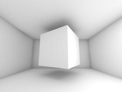 Fotomural Sala de blanco Resumen de interiores, cubo de volar
