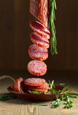 Fotomural salami with rosemary