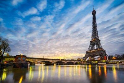 Fotomural Salida del sol en la torre Eiffel, París