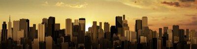Fotomural Salida del sol-puesta de sol Panorama de la ciudad / 3D de la ciudad moderna en el amanecer o atardecer