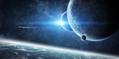 Fotomural Salida del sol sobre el planeta Tierra en el espacio