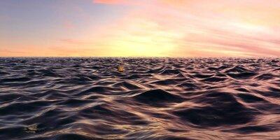 Fotomural Salida temprana de la salida del sol sobre las olas oceánicas