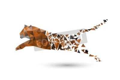 Fotomural Saltando tigre de polígonos