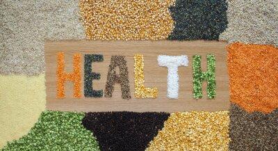 Fotomural Salud y salud alimentos - granos, semillas, legumbres, arroz - orgánicos.