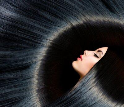 Fotomural Saludable Pelo Negro Largo. Belleza Mujer Morena