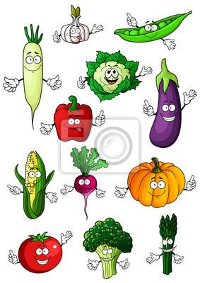 Saludables Personajes De Dibujos Animados Vegetales Orgánicos