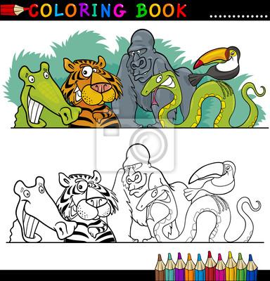 Salvajes animales de la selva para colorear fotomural • fotomurales ...