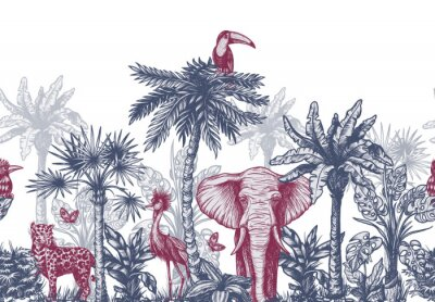Fotomural Seamless border with graphical tropical tree such as palm, banana and jungle animals. Vector.