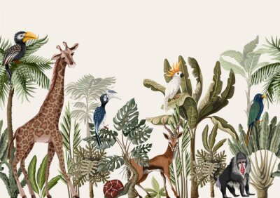 Fotomural Seamless border with tropical tree such as palm, banana and jungle animals. Vector.