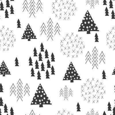 Fotomural Seamless estilo escandinavo ilustración simple árbol de Navidad de fondo