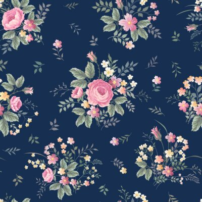 Fotomural Seamless, floral, patrón, rosa, ramo, ondark, azul, Plano de fondo