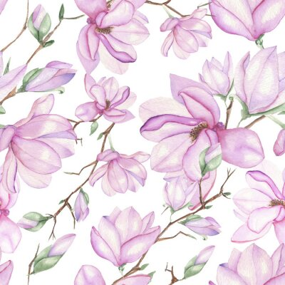 Fotomural Seamless floral pattern with magnolias painted with watercolors on white background