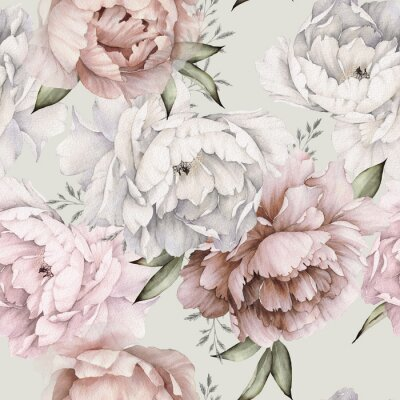 Fotomural Seamless floral pattern with peonies on light background, watercolor. Template design for textiles, interior, clothes, wallpaper. Botanical art