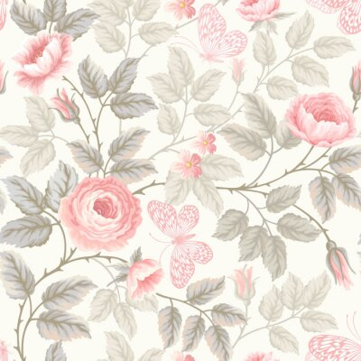 Fotomural seamless floral pattern with roses and butterflies