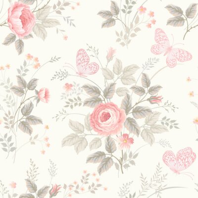 Fotomural seamless floral pattern with roses in pastel colors
