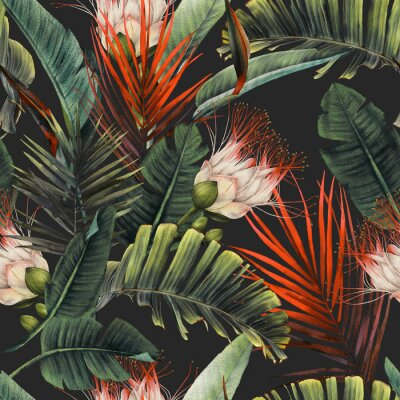 Fotomural Seamless floral pattern with tropical flowers and leaves on dark background. Template design for textiles, interior, clothes, wallpaper. Watercolor illustration