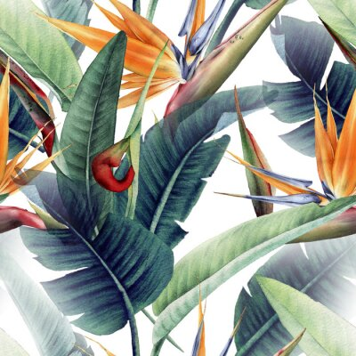 Fotomural Seamless floral pattern with tropical leaves and strelitzia on light background. Template design for textiles, interior, clothes, wallpaper. Watercolor illustration