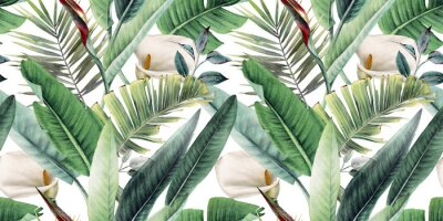 Fotomural Seamless floral pattern with tropical leaves on light background. Template design for textiles, interior, clothes, wallpaper. Watercolor illustration