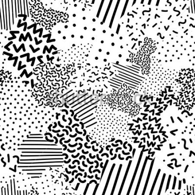 Fotomural Seamless geometric pattern in memphis style