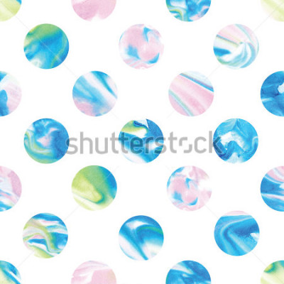 Fotomural Seamless marble polka dot pattern. Abstract watercolor shapes in rainbow.