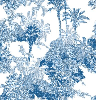 Fotomural Seamless Pattern Blue and White Cobalt Tropical Jungles with Palms and Mountains, Blue Rainforest Toile Print, Tropical Engraving Illustration Wallpaper Mural, Classic Hand Drawn Landscape Design