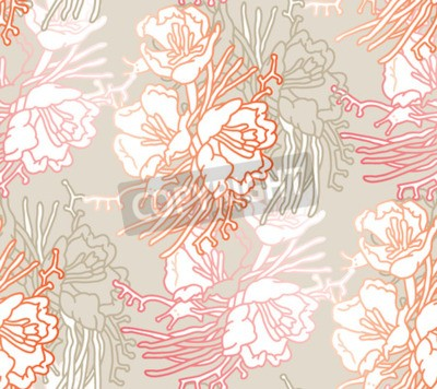Fotomural Seamless pattern of flowers. Floral illustration. Botanic atrwork.