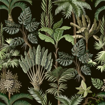 Fotomural Seamless pattern with exotic trees such us palm, monstera and banana. Interior vintage wallpaper.