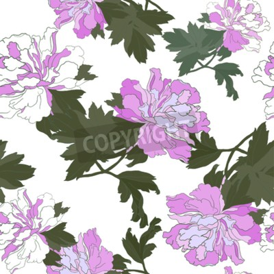 Fotomural Seamless pattern with Flower Peony. Floral Design Vector illustration.