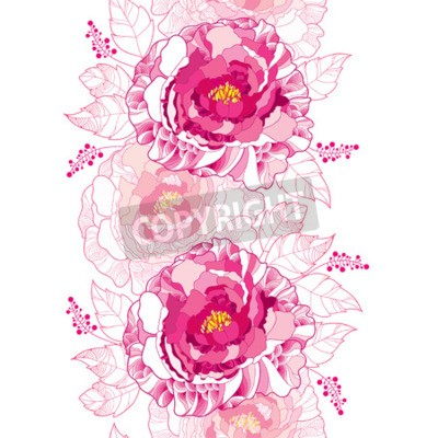 Fotomural Seamless pattern with outline peony flower and ornate leaf in pastel pink colored on the white background. Floral vertical border with contour blossoming peonies for summer design.
