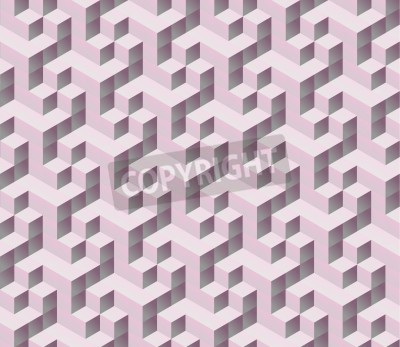 Fotomural seamless pink 3d isometric cube seamless pattern. Abstract digital colorful geometric background.