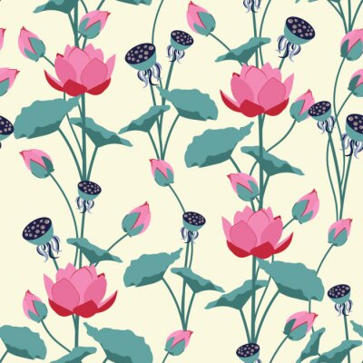 Fotomural Seamless vector illustration with delicate lotus flowers.