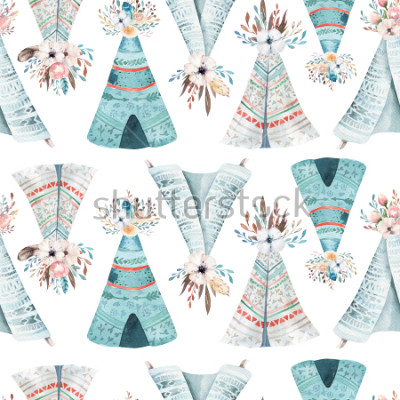 Fotomural Seamless wallpaper with flowers and leaves, watercolor illustration. Design for invitation, wedding or greeting cards