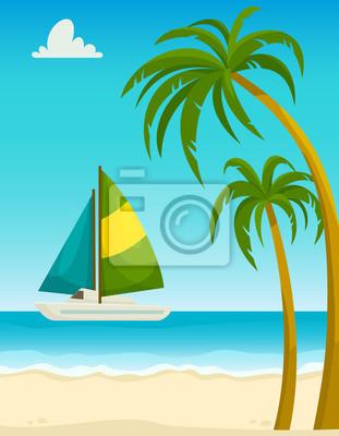 Seascape Con Palmeras De Playa De Arena Y Yate Ilustración