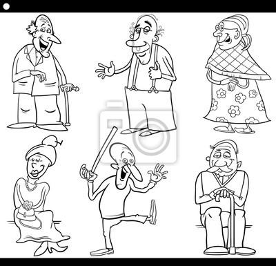 Seniors establecen libro para colorear dibujos animados fotomural ...