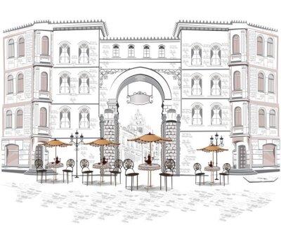 Fotomural Serie de cafés de la calle con vistas de la ciudad vieja