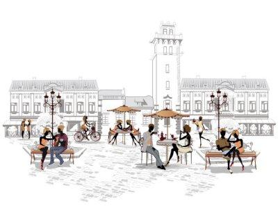 Fotomural Serie de cafés de la calle en la ciudad con las personas que beben café
