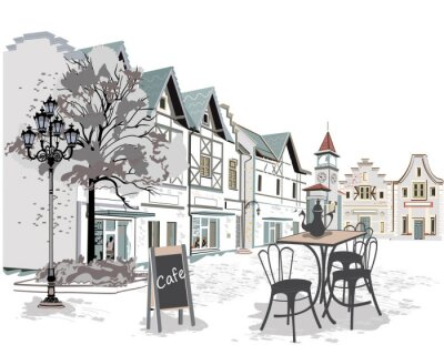 Fotomural Serie de cafés de la calle en la ciudad vieja