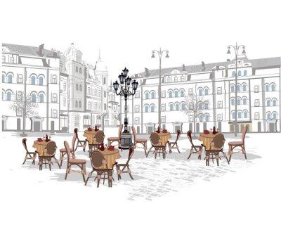Fotomural Serie de fondos decorados con vistas de la ciudad vieja y cafés de la calle. Ilustración vectorial dibujado a mano.