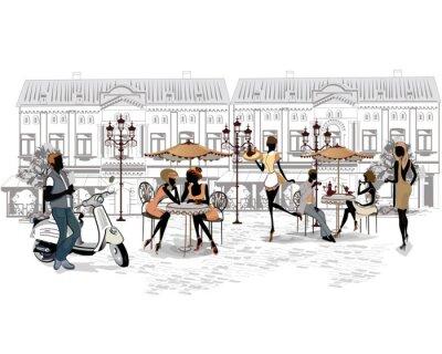 Fotomural Serie de las calles con la gente y los músicos de la ciudad vieja