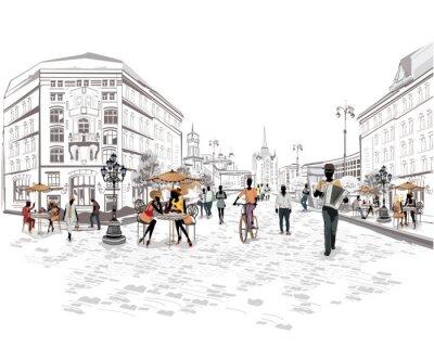 Fotomural Serie de vistas a la calle con la gente en la ciudad vieja