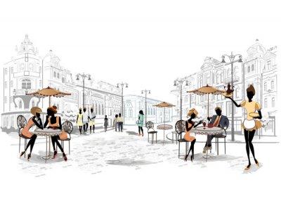 Fotomural Serie de vistas a la calle en la ciudad vieja de cafés