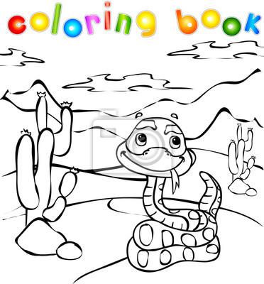 Serpiente en el libro para colorear desierto fotomural • fotomurales ...