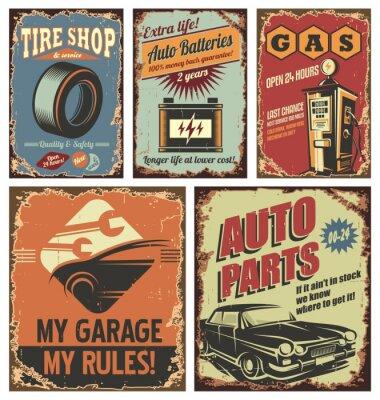 Fotomural Servicio de coches antiguos letreros y carteles de estaño