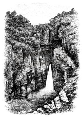 Fotomural Siglo XIX de cascada cerca de Lydford, Devon, Reino Unido