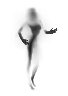 Fotomural Silueta borrosa de la mujer atractiva, manos. Ilustración del vector.