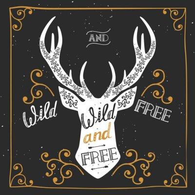 Fotomural Silueta de un ciervo. Cartel dibujado mano de la tipografía, tarjeta de saludo, para el diseño de la camiseta